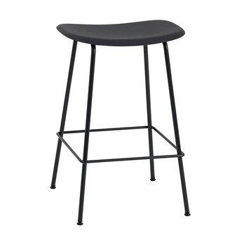 Muuto - Fiber Barhocker 65cm - schwarz/Sitzfläche Kunststoff/BxHxT 45x66x44cm/Gestell Stahl schwarz: pulverbeschichtet