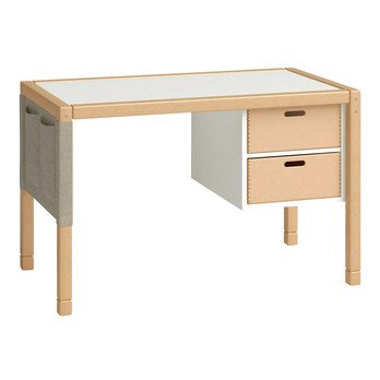 Flötotto - Flötotto Profilsystem Schülerschreibtisch - buche/Tischplatte weiß/melaminharzbeschichtet/inkl. Unterschrank mit 2 Schubladen/auf 2 Höhen verstellbar/Beschläge vernickelt
