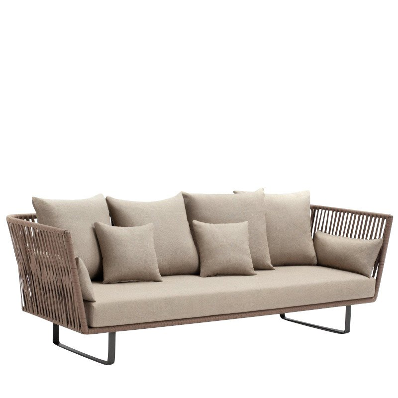 Kettal Bitta 3 Seater Outdoor Sofa Dry Sand Brown Fabric 285