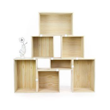 Muuto - Stacked Regalsystem Pinie Set 1 - pinie mit Rückwand/Holz/Modell 1 (siehe Abbildung)/1xklein, 3xmittel, 3xgroß