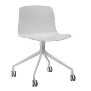 HAY - About a Chair 14 Bürostuhl/Drehstuhl mit Rollen - weiß/Gestell pulverbeschichtet weiß/mit weichen Rollen für alle Böden
