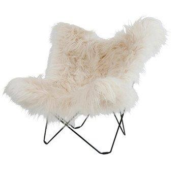 cuero - Iceland Mariposa Butterfly Chair Sessel - weiß/Island Lammfell Wild White/Gestell schwarz