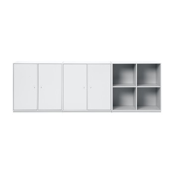 Montana - Board Sideboard 208,8x72,6x38cm - new white 101/lackiert/2 Elemente mit Türen/1 Element offen