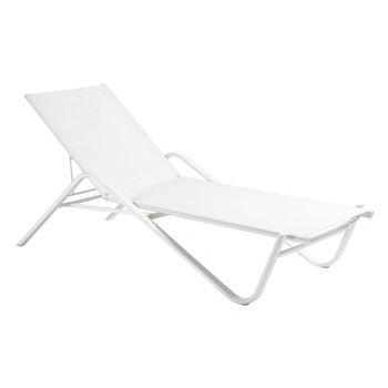 emu - Holly Sonnenliege - weiß/Sitzfläche EMU-Tex weiß/LxBxH 202x79x37cm/Gestell aluminium weiß