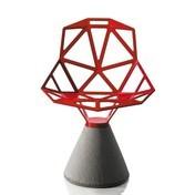 Magis - Chair One Stuhl mit Zementfuß Outdoor - rot/lackiert/Sitz: 5kg/Fuß: 34kg/für den Außenbereich