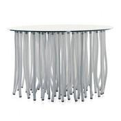 Cappellini - Org Tisch Ø120cm - transparent/weiß/Gestell mit festen und biegbaren Beinen/Beine mit Kordelbezug