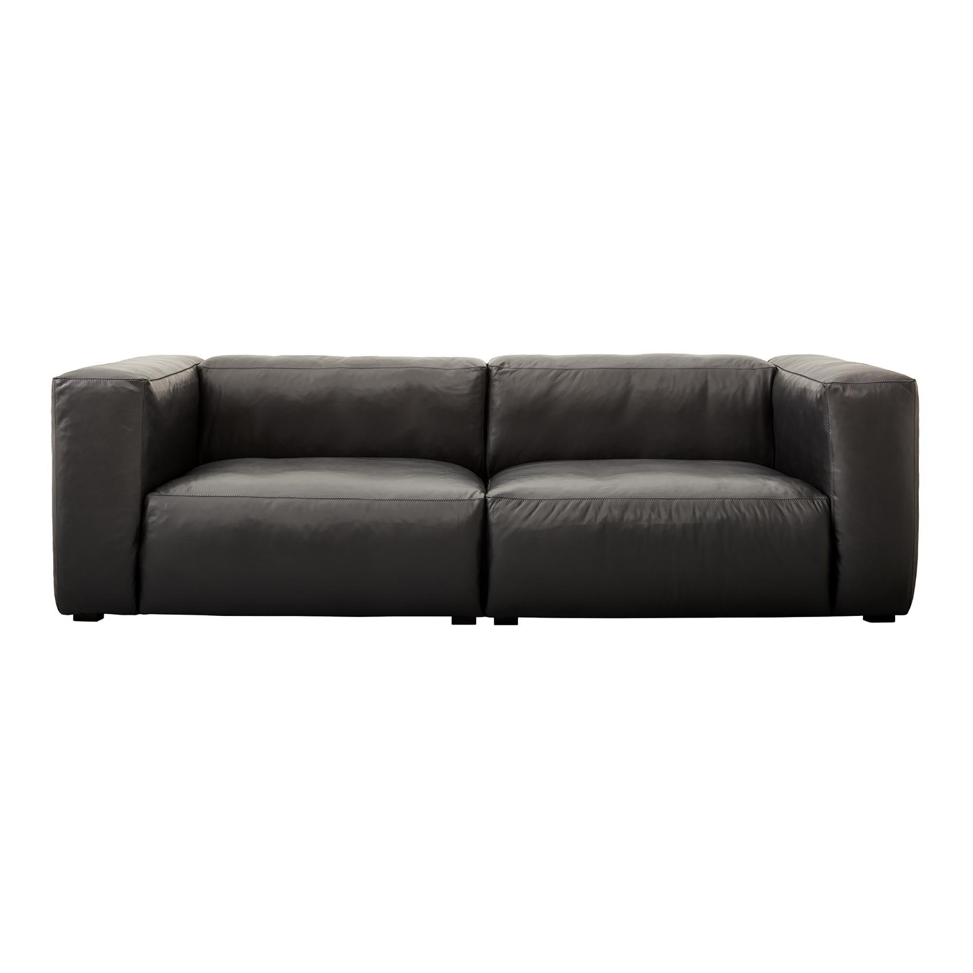 ... HAY   Mags Soft Leather Sofa 228x95.5cm   Black/sofa Legs Black/