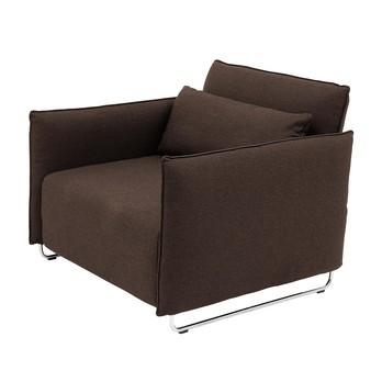 Softline - Cord Sessel / Schlafsessel - Einzelstück - dunkelbraun/Filz 635/BxHxT 95x76x96cm/Gestell Chrom
