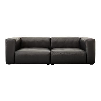 HAY - Mags Soft Ledersofa 228x95.5cm - schwarz/Beine schwarz/Softleder/schwarze Naht/ohne Kissen