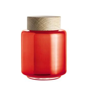 Holmegaard - Palet Aufbewahrungsglas 0,35l - orange/Deckel Eiche/H x Ø: 11.5 x 8,2cm