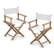 Skagerak - Director's Chair Set - white/frame teak/with SunTexture/set of 2