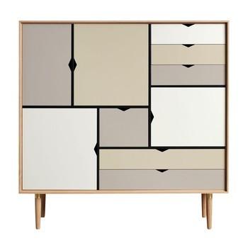 Andersen Furniture - Andersen Furniture S3 Kommode Fronten bunt - silberweiß/beige/metallgrau/Eiche geseift/B130 x T43 x H132 cm
