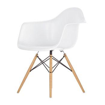Vitra - Eames Plastic Armchair DAW Armlehnstuhl H41cm - weiß/Polypropylen/Gestell Ahorn gelblich/Querverstrebungen aus Rundstahl schwarz