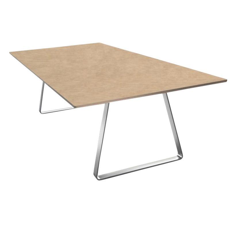 ... La Palma   Mutka Tisch 240x110cm   Eiche Gebleicht/Gestell Matt  Chrom/Furnier