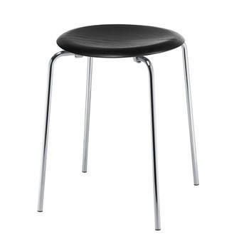 Fritz Hansen - DOT™ Hocker - schwarz/Sitzfläche Esche/H 44cm, Ø 34cm/Gestell Chrom