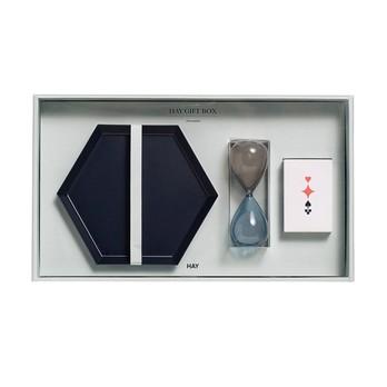 HAY - HAY Geschenkbox Decoration Medium 3tlg. - schwarz, minze/grau, bunt/3tlg./1x Tablett, 1x Sanduhr, 1x Kartenspiel