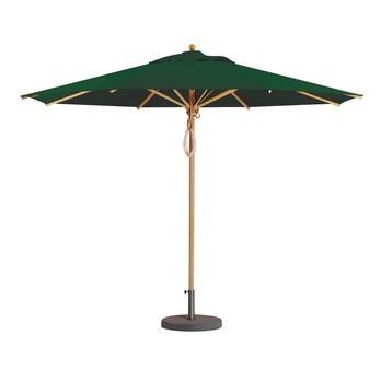 Weishäupl - Klassiker Sonnenschirm rund - dunkelgrün/Gestell Holz/Dolan/Größe 2/Ø 350 cm
