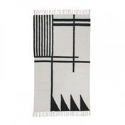 ferm LIVING - Kelim Black Lines Teppich klein - schwarz/weiß/80x140cm/chemisch reinigen
