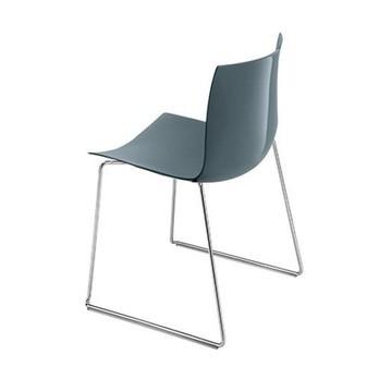 Arper - Catifa 46 0278 Stuhl einfarbig Kufe Chrom - petrol/Außenschale glänzend/innen matt/Gestell verchromt/neue Farbe