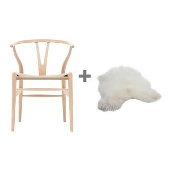 Carl Hansen - Aktionsset Wishbone CH24 Armlehnstuhl + Fell - buche/geseift/Geflecht natur/Island Lammfell gratis!/55x76x51cm