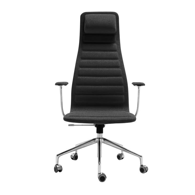 Cappellini   Lotus High Office Chair With Wheels   Black/frame  Aluminium/textile Polaris