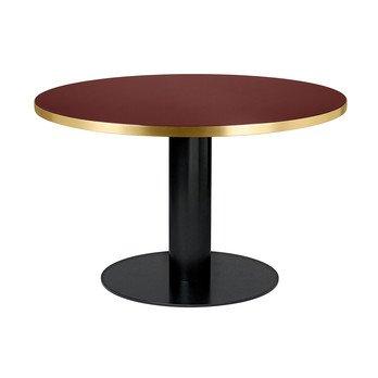 Gubi - 2.0 Dining Table Tisch Gestell Schwarz Ø125cm - kirschrot/Tischplatte Glas/H 74,5cm, Ø125cm/Gestell schwarz