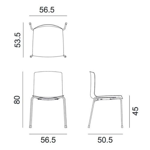 Arper - Catifa 46 0251 Stuhl zweifarbig 4er Set - Strichzeichnung