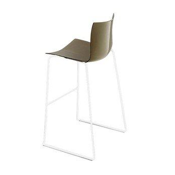 Arper - Catifa 46 0471 Barhocker einfarbig Gestell weiß - taubengrau/Außenschale glänzend/innen matt/Gestell weiß matt V12/Sitzhöhe 76cm/neue Farbe