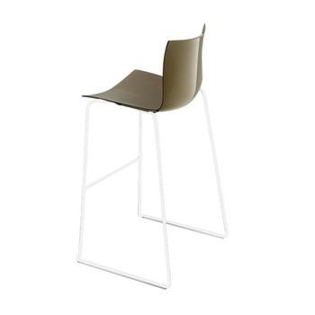 - Catifa 46 0471 Barhocker einfarbig Gestell weiß - taubengrau/Außenschale glänzend/innen matt/Gestell weiß matt V12/Sitzhöhe 76cm/neue Farbe