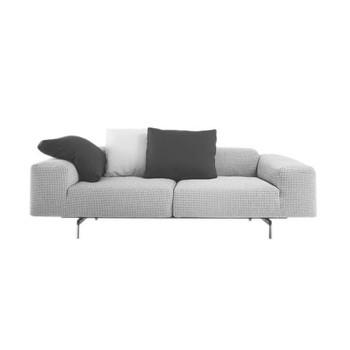 Kartell - Largo 2-Sitzer Sofa - grau/Stoff Pied de Poule/Gestell Stahl lackiert/226x69x96cm/Lieferung ohne Kissen