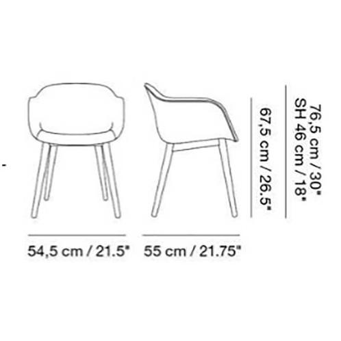 Muuto - Fiber Armlehnstuhl teilgepolstert Holzgestell - Strichzeichnung
