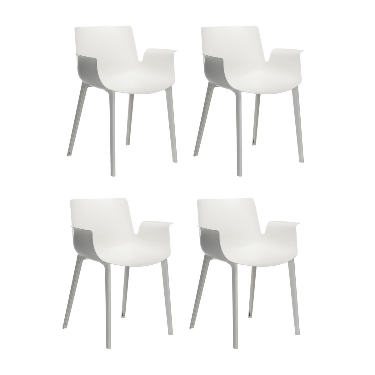 Piuma set de 4 sillas con reposabrazos kartell for Sillas de salon con reposabrazos