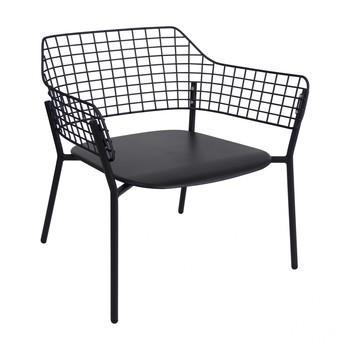 - Lyze Loungesessel - schwarz/pulverbeschichtet/Gestell aluminium schwarz/LxBxH 76x72x73cm