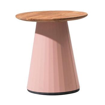 Kettal - Cala Beistelltisch - rosa/natur/Tischplatte Teak Ø48cm/Gestell aluminium Feldspar 082/H 51.1cm/Ø 34.5cm