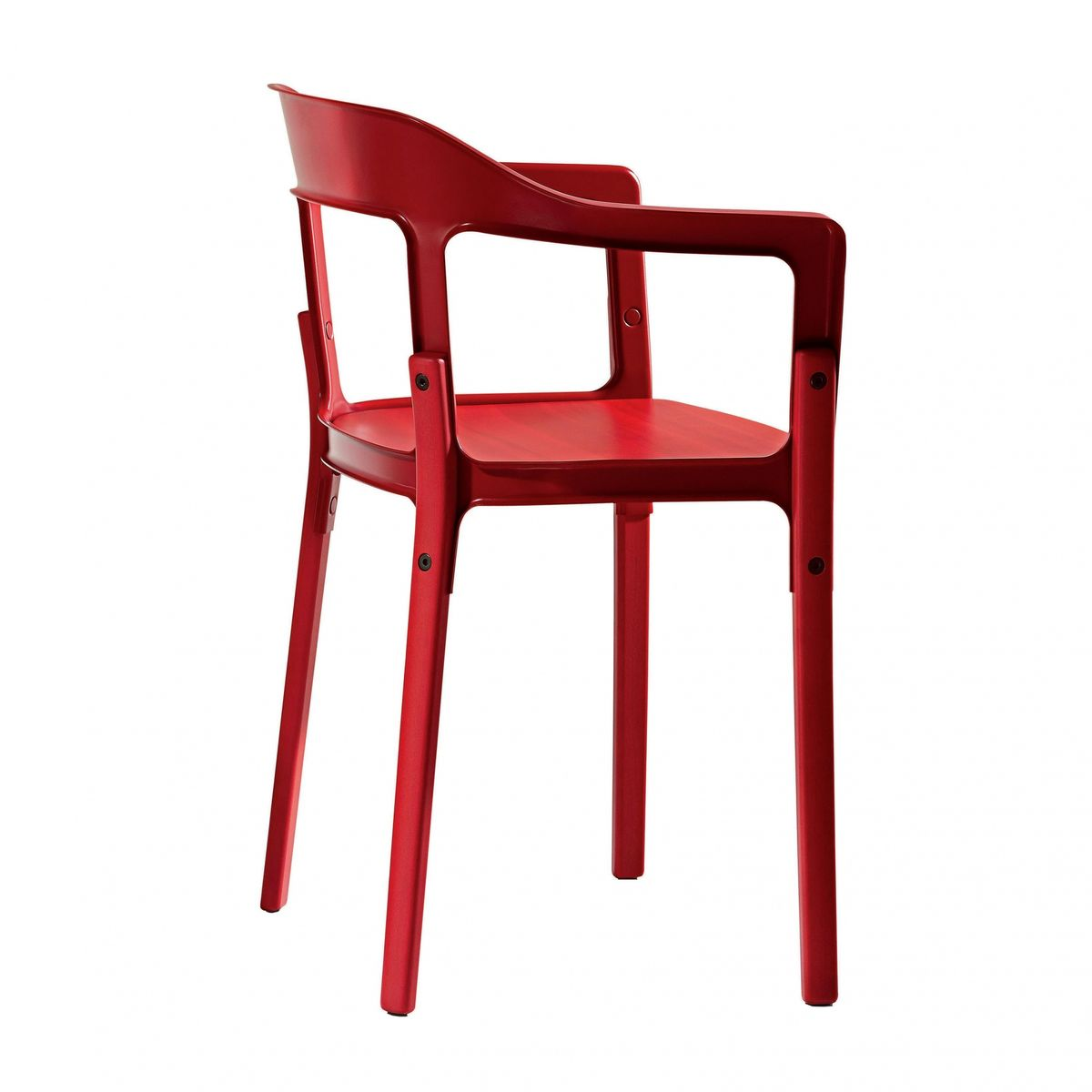 Attractive Magis   Steelwood Chair Armchair   Red/lacquered/with Felt Gliders