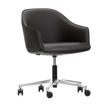 Vitra - Softshell Chair Bürostuhl - nero schwarz/Leder/Gestell aluminium poliert/mit weichen Rollen