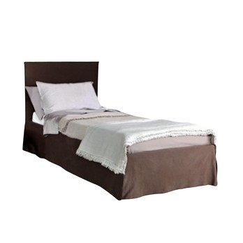 Gervasoni - Ghost 82.S Bett mit ausziehbarem Zweitbett - braun/Stoff Malta 3 Choco 1 Kat. C/mit Lattenrost 90x200cm/100x110x214cm