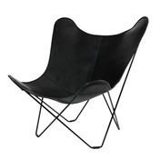 cuero - Leather Mariposa Butterfly Chair Sessel - schwarz/italienisches Leder/Gestell schwarz