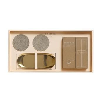 HAY - HAY Geschenkbox Kitchen Large 5tlg. - gold, transparent/gold, sand/5tlg./Tablett, 2 Weißweingläser, 2 Untersetzer