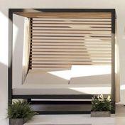 Kettal - Landscape Daybed - manganese schwarz / 200x200cm/inkl. Matraze, inkl. 2 Vorhang Sets/inkl. Cedernholz Rückwand, Decke