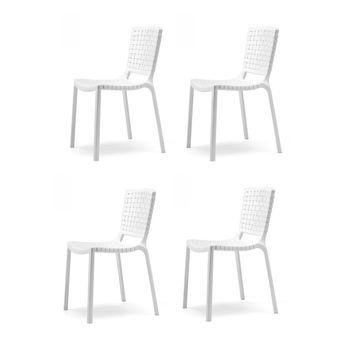 - Tatami Gartenstuhl 4er Set - weiß/UV-beständig/100% recyclebar