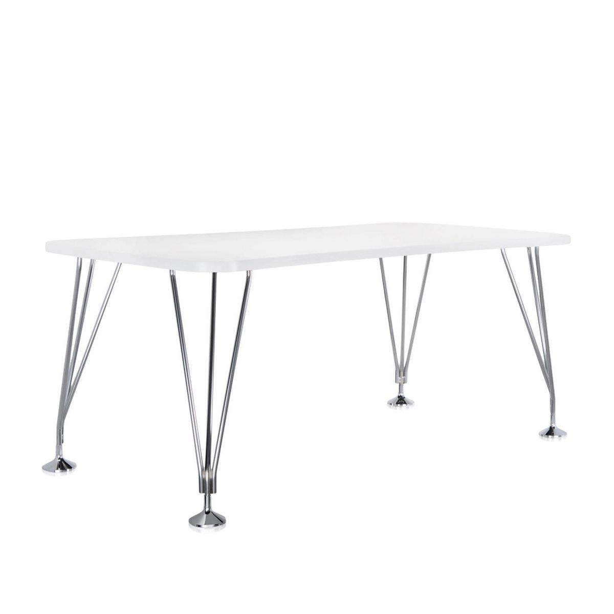 max table xcm  kartell  ambientedirectcom - kartell  max table xcm  zinc whiteframe chromed steelwith fixedfeet