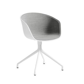 - About a Chair 20 Armlehndrehstuhl gepolstert - grau/weiß/Stoff Remix 123/Gestell schwarz/mit Spiegelpolster