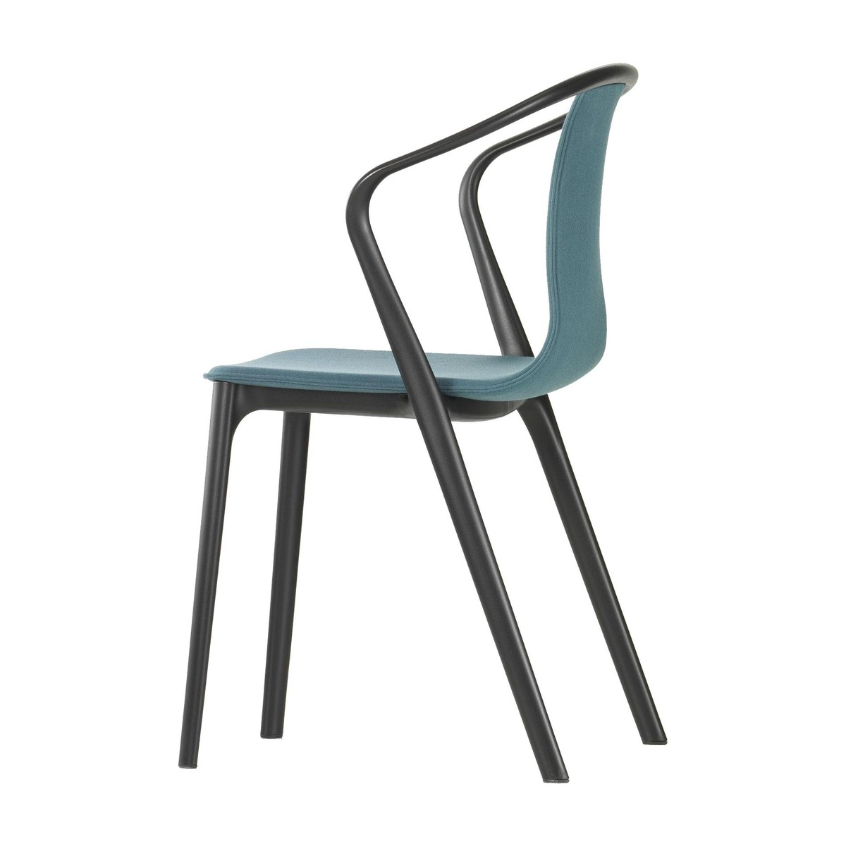 Plastic outdoor chair - Vitra Belleville Armchair Plastic Outdoor Sea Blue Polyamide Seat Shell Lower Frame