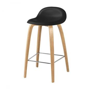 Gubi - Gubi 3D Counter Stool Barhocker mit Eichengestell - mitternachtsschwarz/Sitzfläche HiRek Kunststoff/BxHxT 44x78x41cm/Gestell Eiche