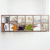 Flötotto - 355 Sideboard 2 - weiß/Kante Nussbaum Echtholz/12 Fächer à 38x40cm/ohne Rückwände
