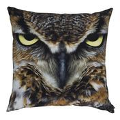 by nord - Intense Owl Cushion 60x60cm - brown/black/washable at 30 °/incl. feather filling