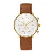 Junghans - Max Bill Chronoscope Armbanduhr - Zifferblattfarbe weiß/Gold/Armband hellbraun