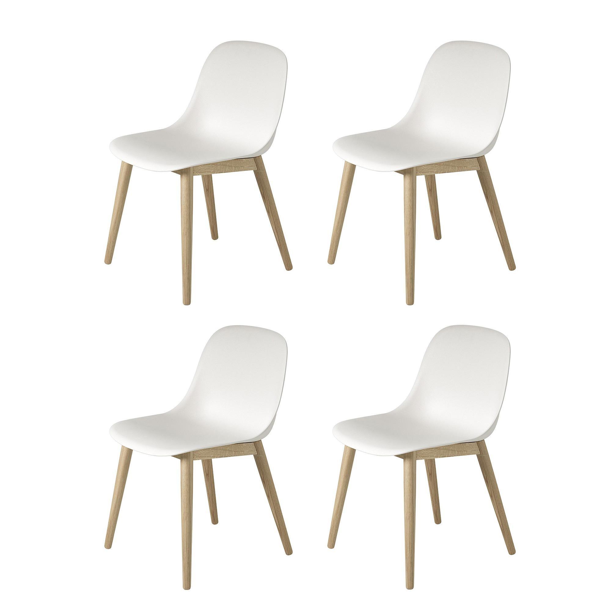 Fiber Chair Stuhl mit Holzgestell 4er Set