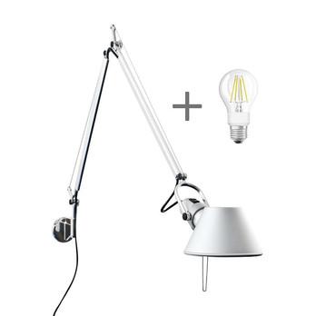 Artemide - Aktionsset Tolomeo Parete Wandleuchte + LED - aluminium/poliert/BxH 81x67cm/mit Wandbefestigung und LED Leuchtmittel
